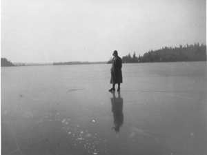 Mrs. Showler on the frozen Fraser River in 1922.