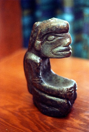 The Skytte seated human figure bowl that is in the collection of the Vancouver Museum.
