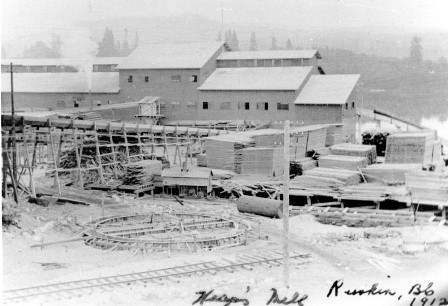 Heap's mill complex from the west showing lumber piles and railway access.  What appears to be a roundhouse or turntable is under construction at the front.