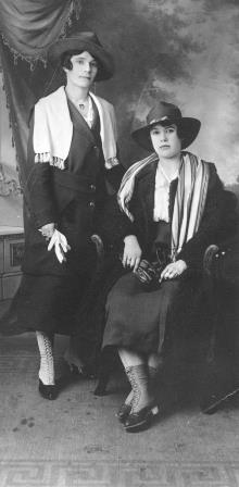 Catherine (Kate) and Adella (seated), taken in Seattle in 1918 when Adella went to audition for the circus.