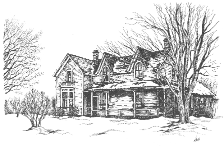 Maple Leaf House - a pen and ink drawing of Hector and Lavinia Ferguson's home by their grand-daughter, child of daughter Isabelle Ellen Ferguson and Earle Selkirk.  The house was built circa 1885.