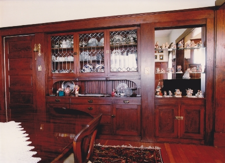 Interior of Hill house showing beautiful built-in cabinetry, 1996.