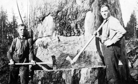 Arvo Skytte [L]and Bill Mielty using double-bitted axes for hand logging up near the north end of 248th Street.  1925 c