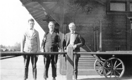 The Ruskin Station platform circa 1925 with (L to R): Norm Pelkey, Bert Kemp, and the Station Master, Frank Pelkey.