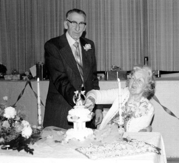 Frank and Frances Zeron celebrating their 50th wedding anniversary at Albion Hall in 1975