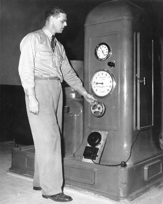 Gordon Byrnell, powerhouse operator for B.C. Electric in 1950.