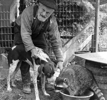 Alfred Rieboldt with a hound dog and a raccoon in 1973.