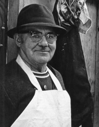 Harold Hill, owner of Hill House and Albion fisherman, at an Oolichan sale on Albion Wharf in 1972
