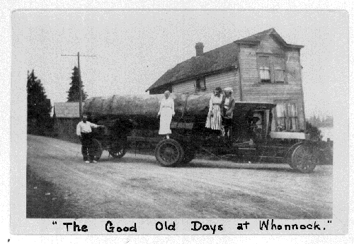 Carl Nelson's Kissel logging truck on the road in front of the old Luno Store in Whonnock in 1927or 28.