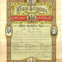 1898 McIver High School Certificate