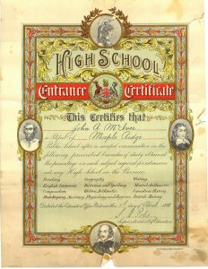 McIver High School Certificate