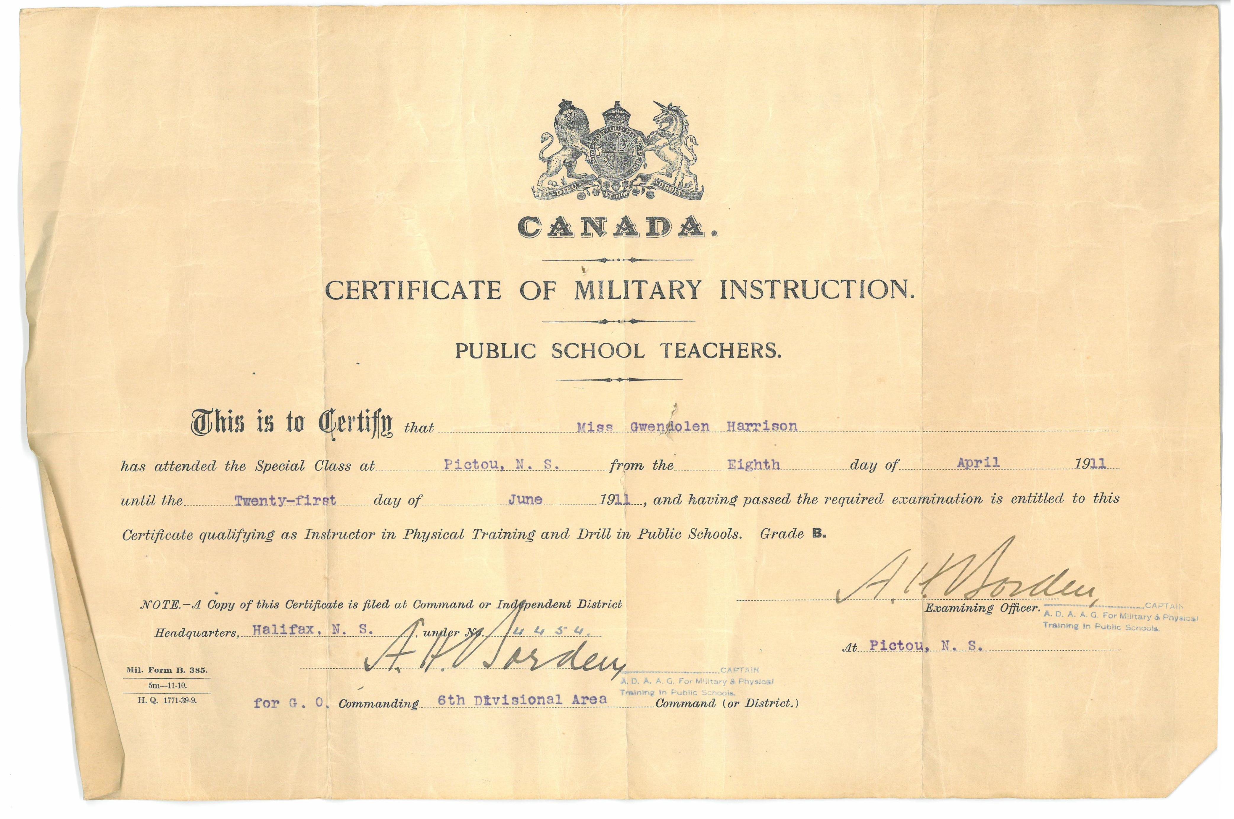 Certificate Of Military Instruction Maple Ridge Museum