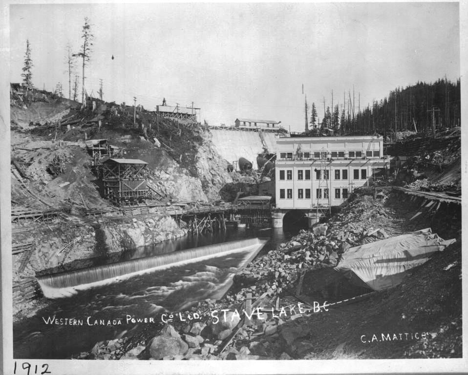 Stave Lake Dam during construction.  Western Canada Power Co image.  CA Mattice appears to be the photographer hired by the company to document the work. 1912. [P07893]